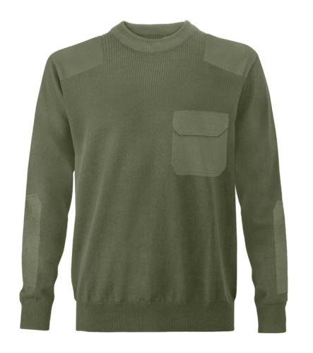 Maglione uomo girocollo, tessuto a maglia punto grosso, toppe spalle e gomiti, taschino con patella, tessuto 100% acrilico, colore verde militare