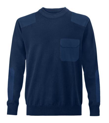 Maglione uomo girocollo, tessuto a maglia punto grosso, toppe spalle e gomiti, taschino con patella, tessuto 100% acrilico, colore blu navy