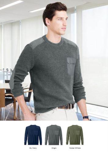 Maglione uomo girocollo, tessuto a maglia punto grosso, toppe spalle e gomiti, taschino con patella, tessuto 100% acrilico