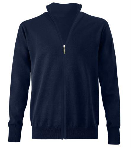 Maglione zip lunga blu