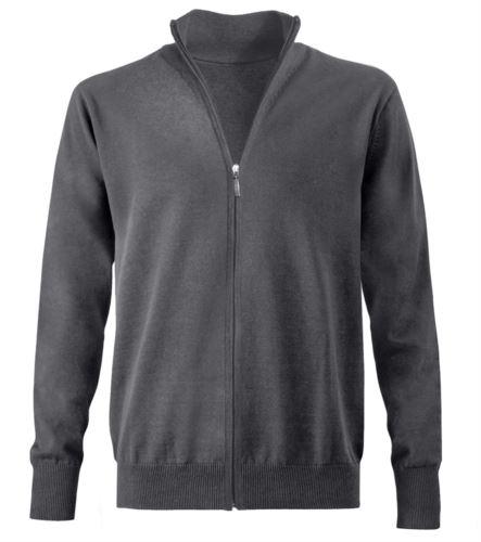 Maglione zip lunga grigio