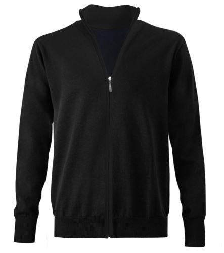 maglione nero unisex zip lunga