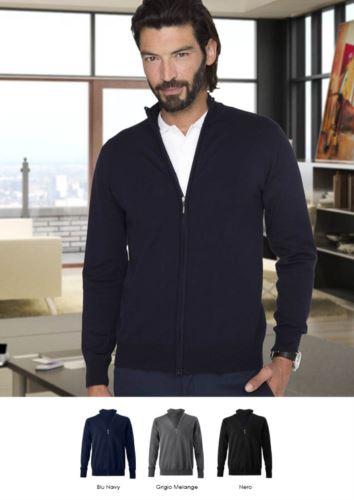 Maglione unisex zip intera, toppe ai gomiti, costine sui bordi inferiori e polsini, tessuto cotone e lana