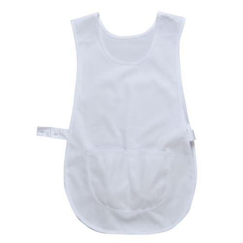 Mantella con tasca centrale, regolazione laterale con bottoni a pressione, colore bianco