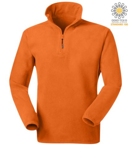 Micropile antipilling in 100% Poliestere a zip corta con tessuto elasticizzato ai polsi, colore arancione