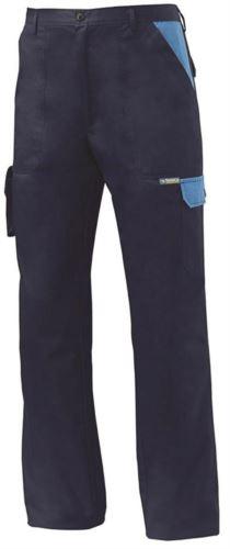 Pantalone da lavoro multitasche bicolore blu, pantalone da lavoro con tasche laterali
