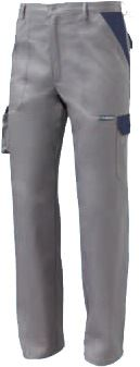 Pantalone da lavoro multitasche bicolore grigio, pantalone da lavoro con tasconi