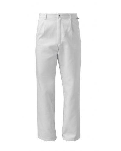 Pantalone alimentare, modello classico, chiusura con bottone a pressione, colore bianco, certificato CE