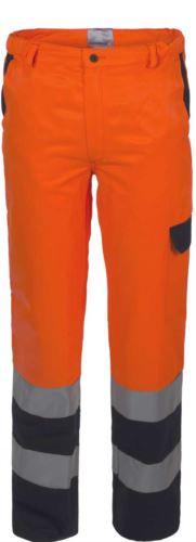 Pantalone alta visibilità bicolore con doppia banda su fondo gamba, certificata EN 20471, colore arancione/blu