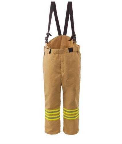 Pantaloni antincendio, foderati ed impermeabili, vita elasticizzata, chiusura frontale con velcro, colore oro. Certificato EN 469