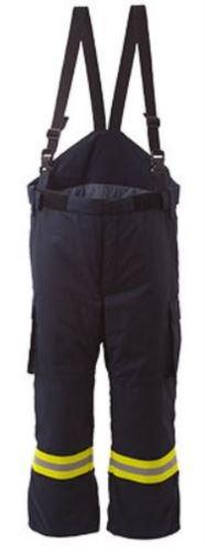 Pantalone antincendio, tasche laterali, vita comoda con gusset, aperture per tasche porta ginocchiere, colore blu navy. Certificato EN 469