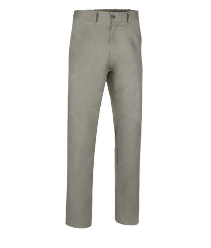 Pantalone classico da lavoro con tessuto elastico, quattro tasche con chiusura a zip e bottone, colore beige