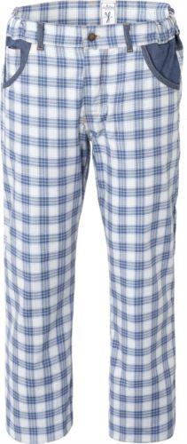 Pantaloni da cuoco, elastici in vita, chiusura con bottone, due tasche anteriori, due tasche posteriori, Colore check azzurro.