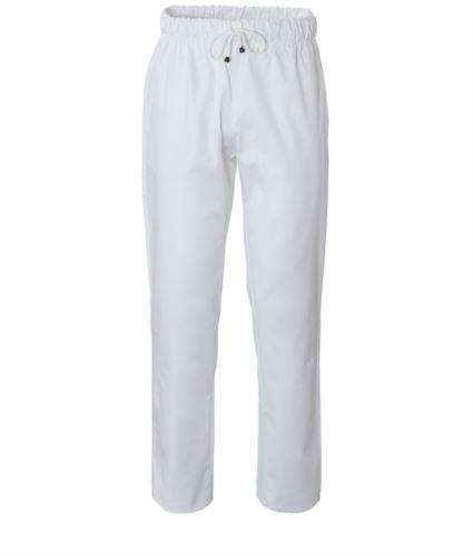 Pantaloni da cuoco, elastico sulla vita con laccio, colore bianco