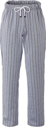 Pantaloni cuoco, elastico sulla vita con laccio, Colore rigato grigio-nero.