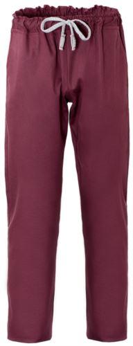 Pantaloni da cuoco, chiusura con laccetti in tessuto, due tasche posteriori, colore bordeaux