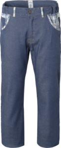 Pantaloni da cuoco, elastici in vita, chiusura con bottone, due tasche anteriori, due tasche posteriori, colore denim