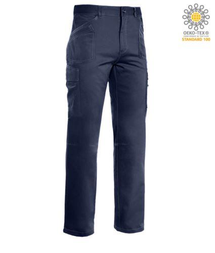 Pantaloni da lavoro multitasche, cuciture a contrasto 100% Cotone, colore blu