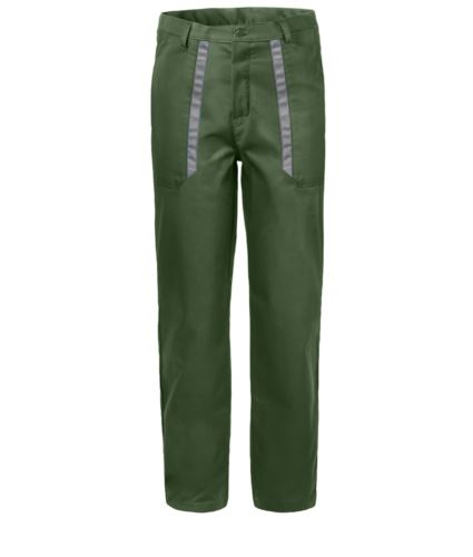 Pantaloni da lavoro con dettagli bicolore in contrasto sulle tasche. Colore: Verde/Grigio