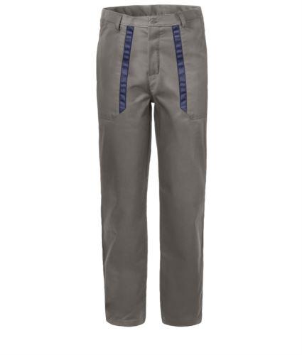Pantaloni da lavoro con dettagli bicolore in contrasto sulle tasche. Colore: Grigio/Blu