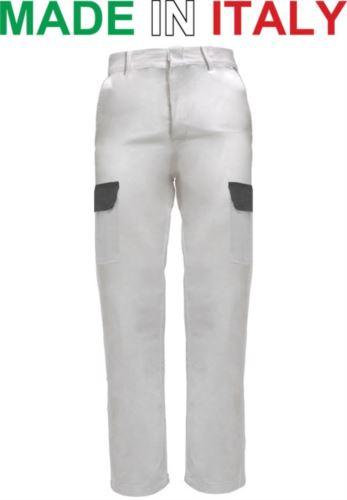 Pantaloni multitasche da lavoro bicolore bianchi,abbigliamento industria alimentare,pantaloni da lavoro con tasconi frontali