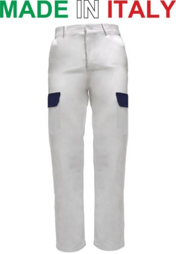 Pantaloni multitasche da lavoro bicolore bianchi, pantaloni da lavoro settore alimentare, pantaloni multitasche uomo