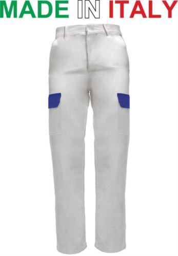 Pantaloni multitasche da lavoro bicolore bianchi, pantaloni da lavoro alimentare, abbigliamento da lavoro cucina