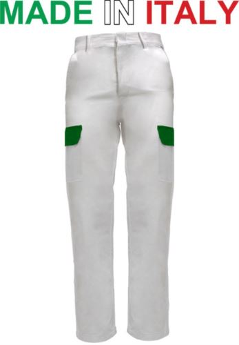Pantaloni multitasche da lavoro bicolore bianchi, pantaloni bianchi da pittore, abbigliamento da lavoro imbianchino