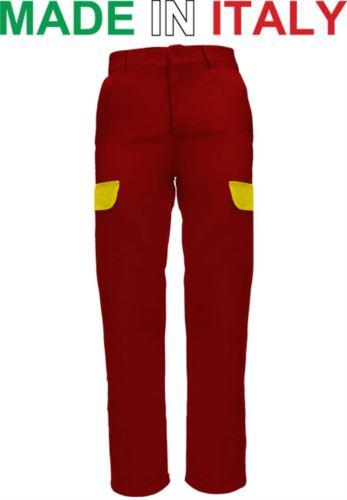 Pantaloni multitasche da lavoro bicolore rosso, abiti da lavoro industria alimentare, pantaloni da lavoro di cotone