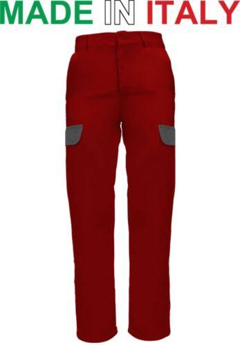 Pantaloni multitasche da lavoro bicolore rosso, abiti da lavoro sicurezza, pantaloni multitasche made in Italy