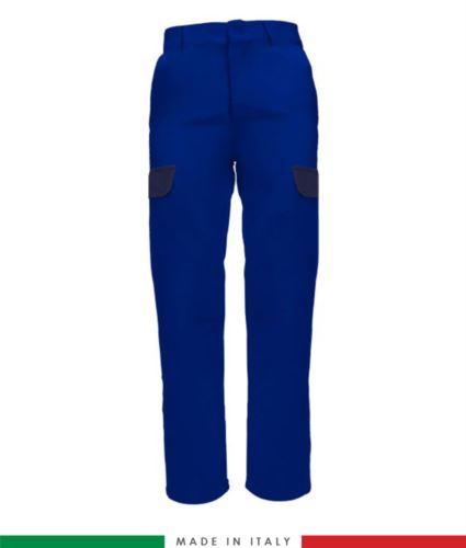 Pantalone multitasche bicolore. Made in italy. Possibilità di produzione personalizzata. Colore: Azzurro Royal/Blu Navy