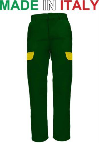 Pantaloni da lavoro bicolore verdi, pantaloni da lavoro con tasche esterne, abbigliamento da lavoro falegname