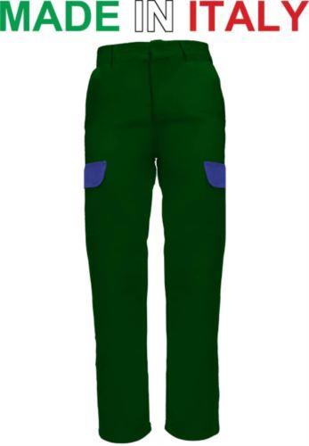 Pantaloni da lavoro bicolore verde, indumenti per saldatura, pantaloni da lavoro con tasconi frontali