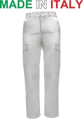 Pantaloni multitasche da lavoro bicolore bianchi, pantaloni per imbianchini, abiti da lavoro da imbianchino