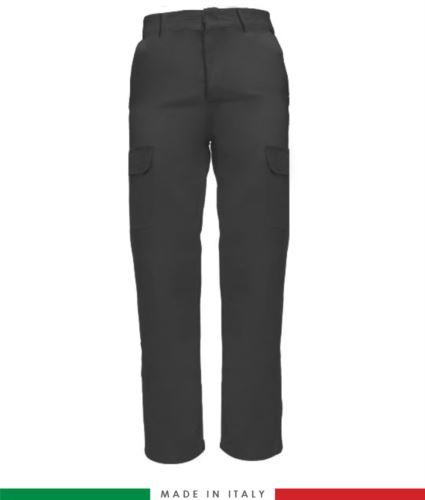 Pantalone multitasche da lavoro grigio, pantalone per elettricisti, pantalone multitasche made in Italy
