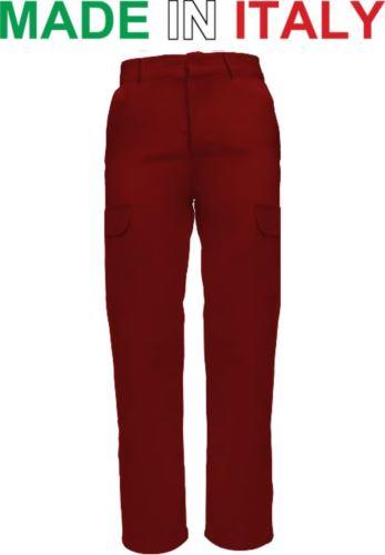 Pantaloni multitasche da lavoro bicolore rosso,pantaloni da officina,abiti da lavoro uomo