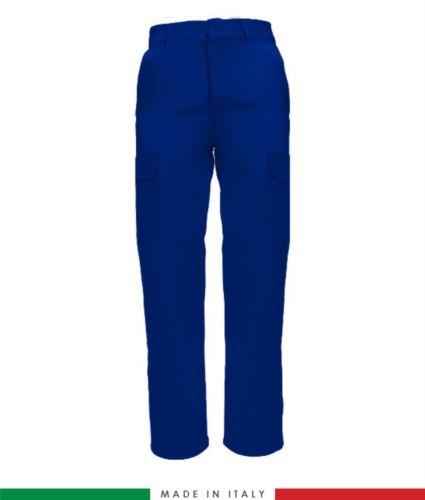 Pantalone multitasche bicolore. Made in italy. Possibilità di produzione personalizzata. Colore: Azzurro Royal
