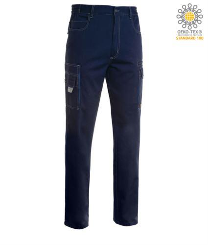 Pantalone da lavoro multitasche, multistagione, bicolore. Colore Nero Blu Navy/Blu Royal