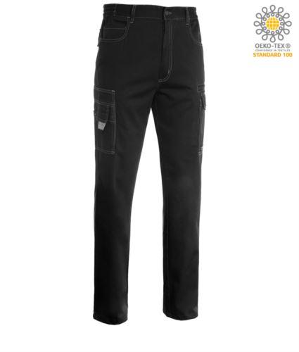 Pantalone da lavoro multitasche, multistagione, bicolore. Colore Nero/Grigio