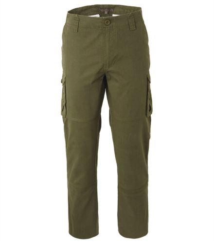 Pantalone da lavoro multitasche in cotone di colore verde