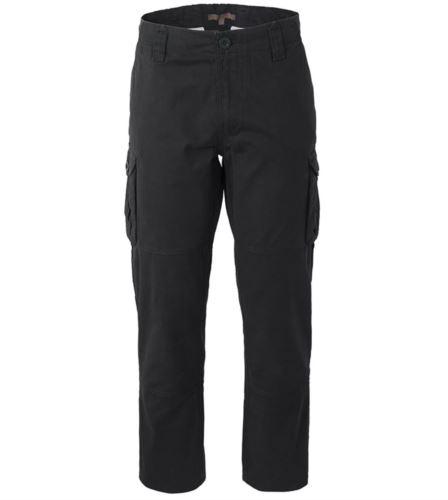 Pantalone da lavoro multitasche in cotone di colore nero