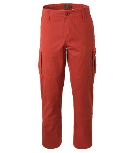 Pantalone da lavoro multitasche in cotone di colore rosso
