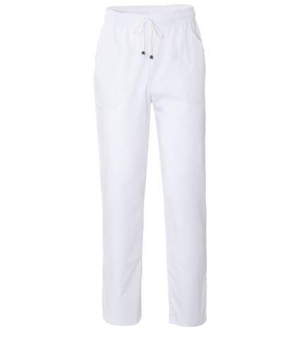 Pantaloni da lavoro sanitario con chiusura con laccetti in tessuto, colore bianco