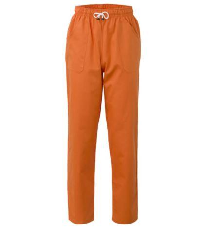 Pantaloni da lavoro sanitario con chiusura con laccetti in tessuto, colore arancione