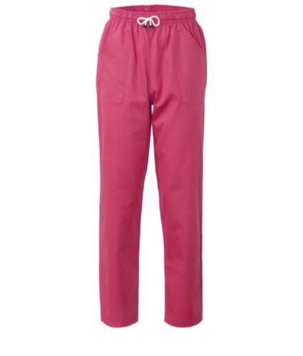 Pantaloni da lavoro sanitario con chiusura con laccetti in tessuto, colore fucsia