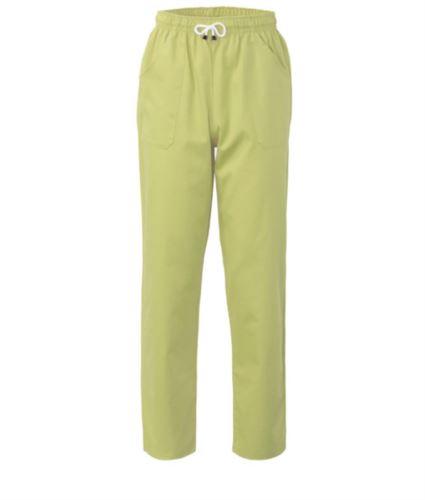 Pantaloni da lavoro sanitario con chiusura con laccetti in tessuto, colore verde acido