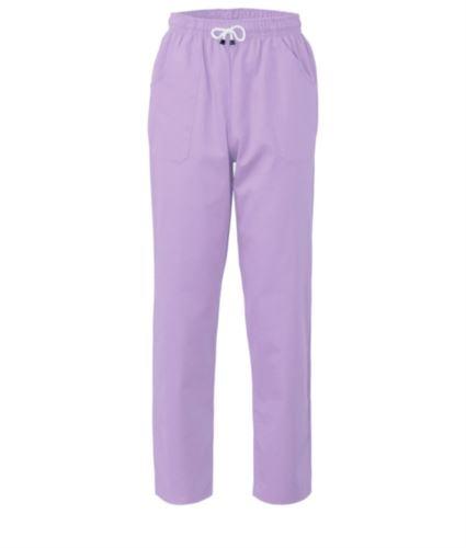 Pantaloni da lavoro sanitario con chiusura con laccetti in tessuto, colore lilla