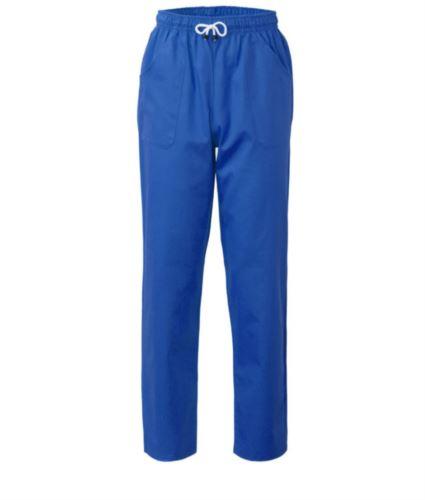 Pantaloni da lavoro sanitario con chiusura con laccetti in tessuto, colore bluette