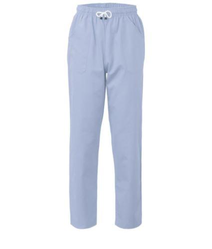 Pantaloni da lavoro sanitario con chiusura con laccetti in tessuto, colore celeste