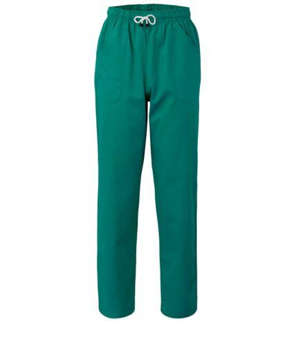 Pantaloni da lavoro sanitario con chiusura con laccetti in tessuto, colore verde